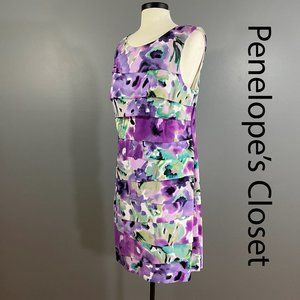 CONNECTED Watercolor Print Tiered Sheath Dress 16